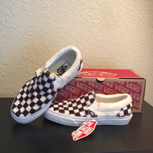 Vans Checkerboard furry Sherpa shoes new. Faux fur fe9e28a65